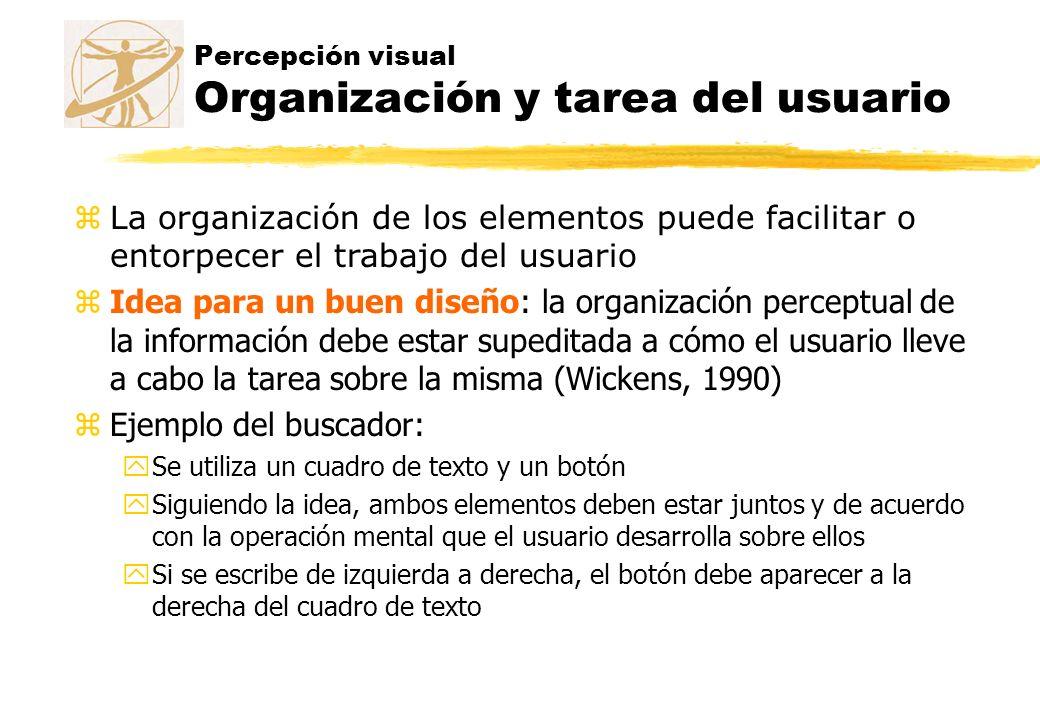 Percepción visual Organización y tarea del usuario