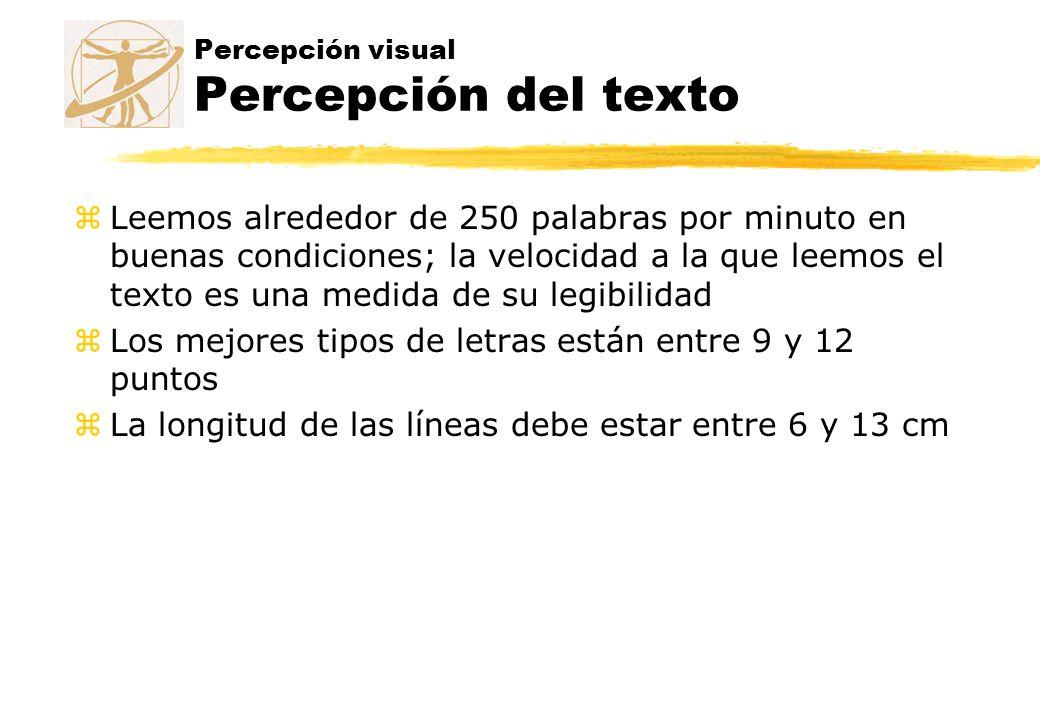 Percepción visual Percepción del texto