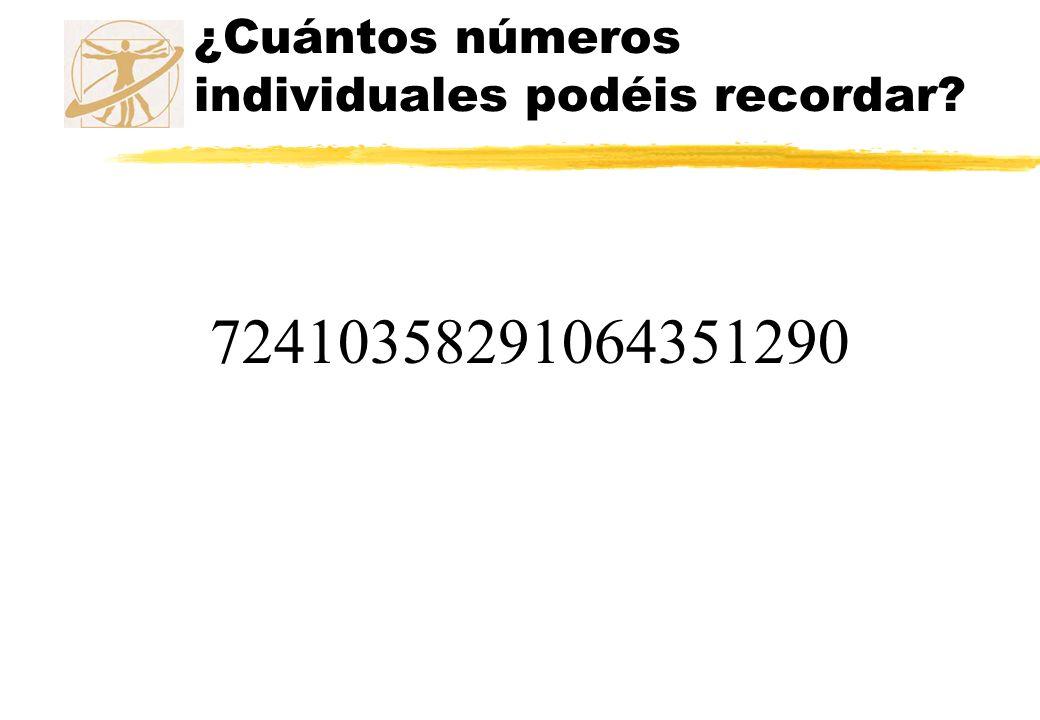 ¿Cuántos números individuales podéis recordar