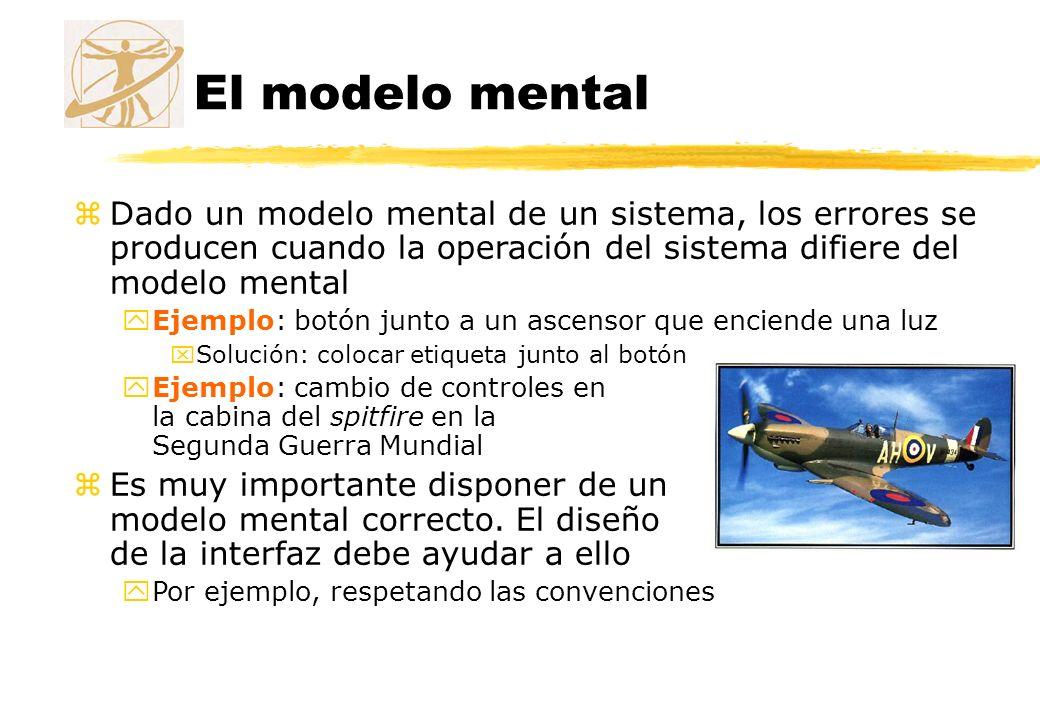 El modelo mental Dado un modelo mental de un sistema, los errores se producen cuando la operación del sistema difiere del modelo mental.