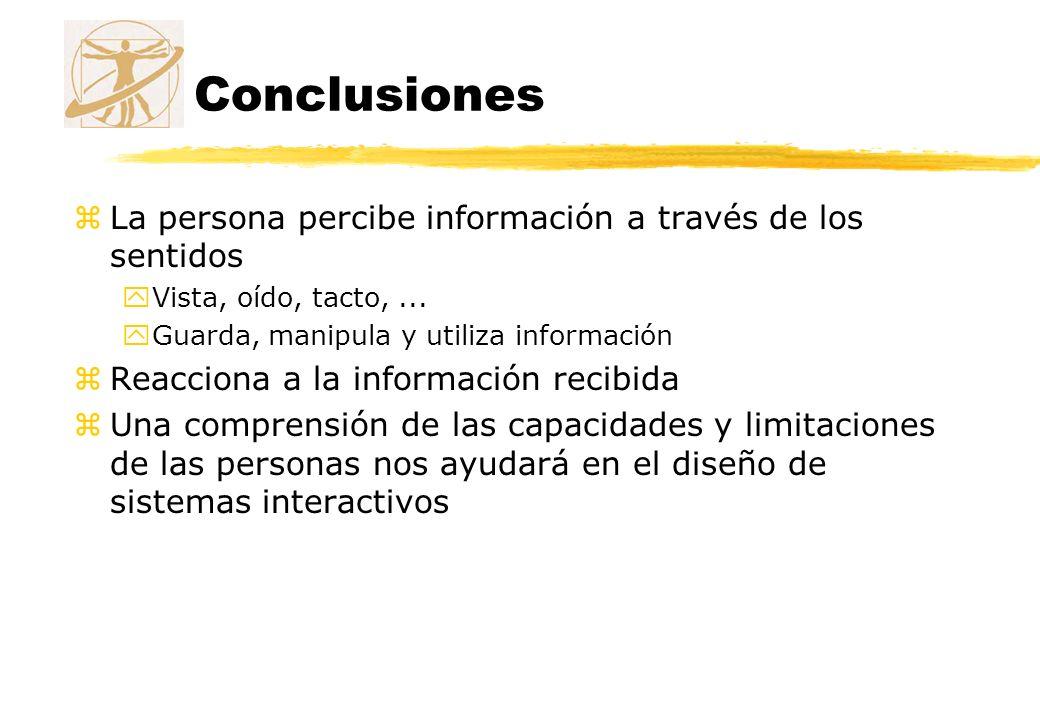 Conclusiones La persona percibe información a través de los sentidos