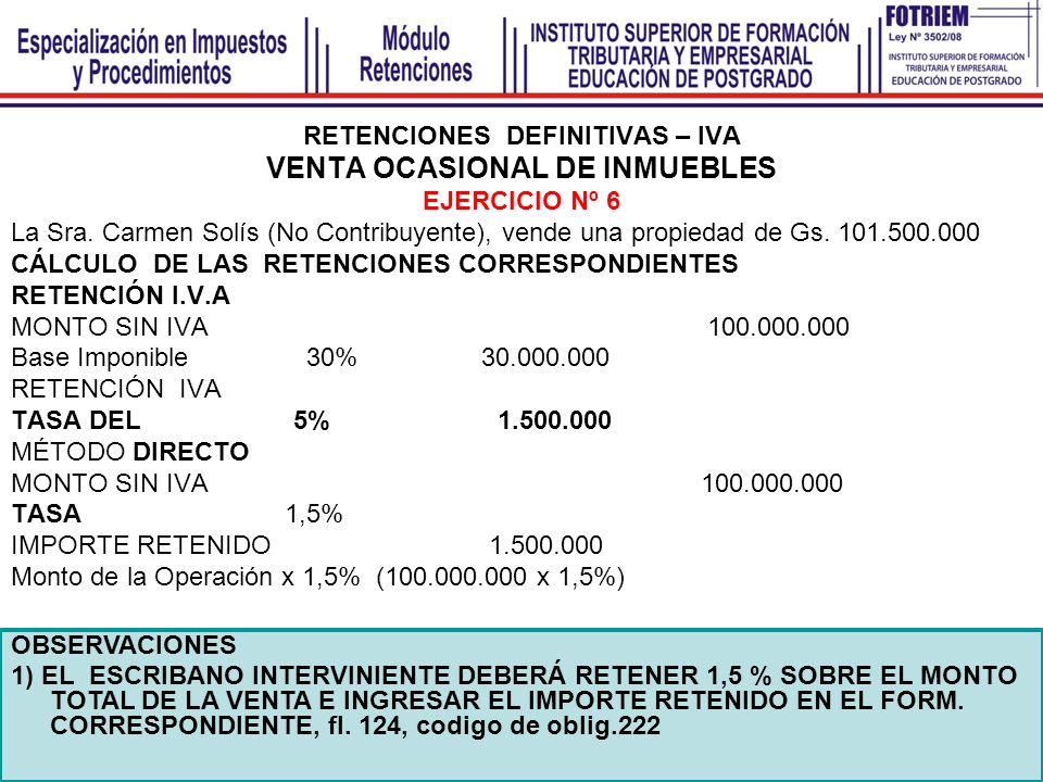 RETENCIONES DEFINITIVAS – IVA VENTA OCASIONAL DE INMUEBLES