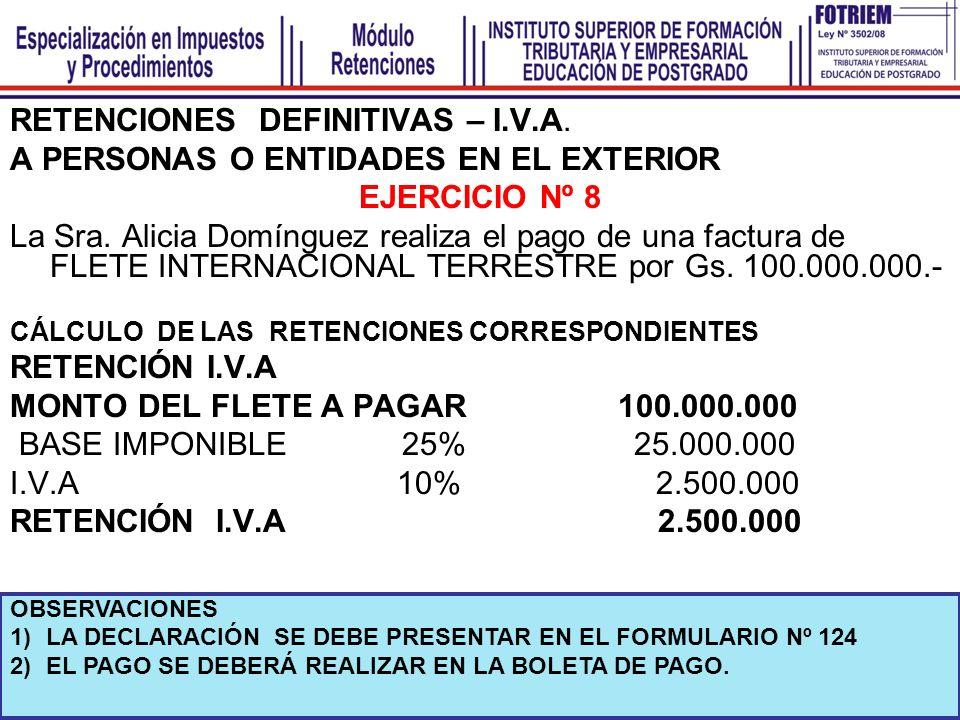 RETENCIONES DEFINITIVAS – I.V.A. A PERSONAS O ENTIDADES EN EL EXTERIOR