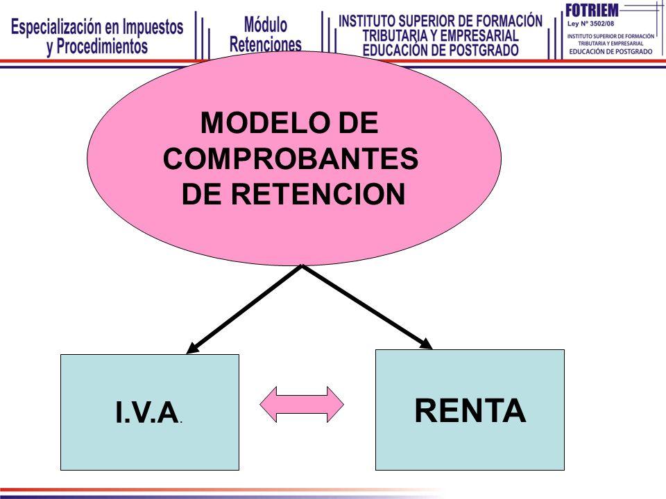 MODELO DE COMPROBANTES DE RETENCION RENTA I.V.A.