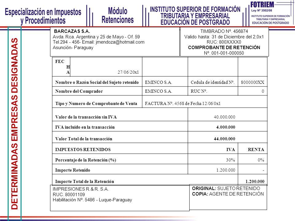 DETERMINADAS EMPRESAS DESIGNADAS