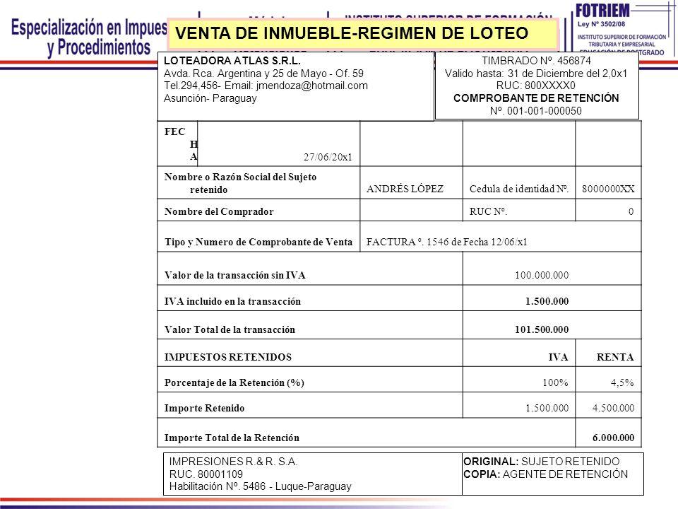 VENTA DE INMUEBLE-REGIMEN DE LOTEO
