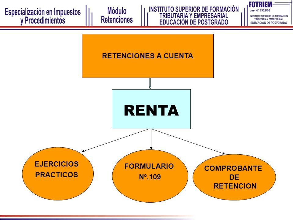 RENTA RETENCIONES A CUENTA EJERCICIOS FORMULARIO PRACTICOS COMPROBANTE