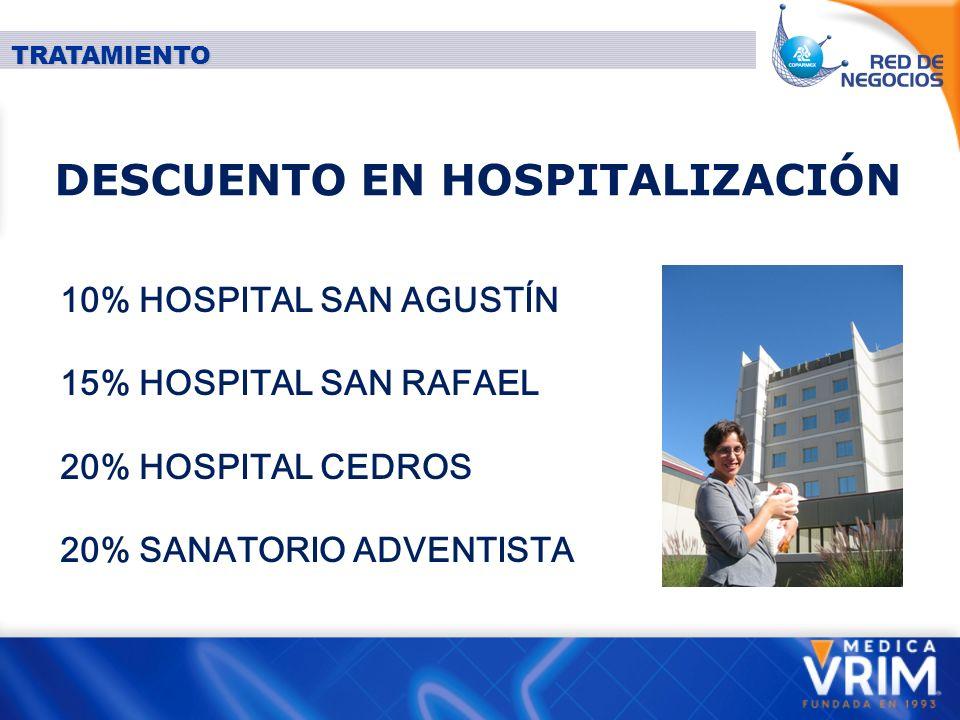DESCUENTO EN HOSPITALIZACIÓN