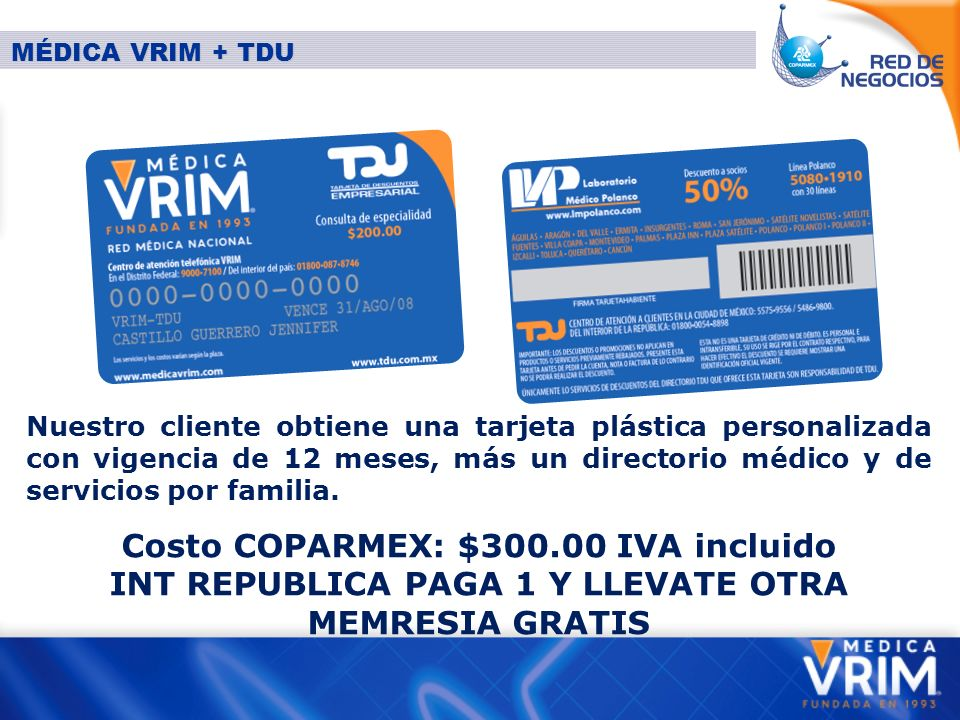 Costo COPARMEX: $300.00 IVA incluido