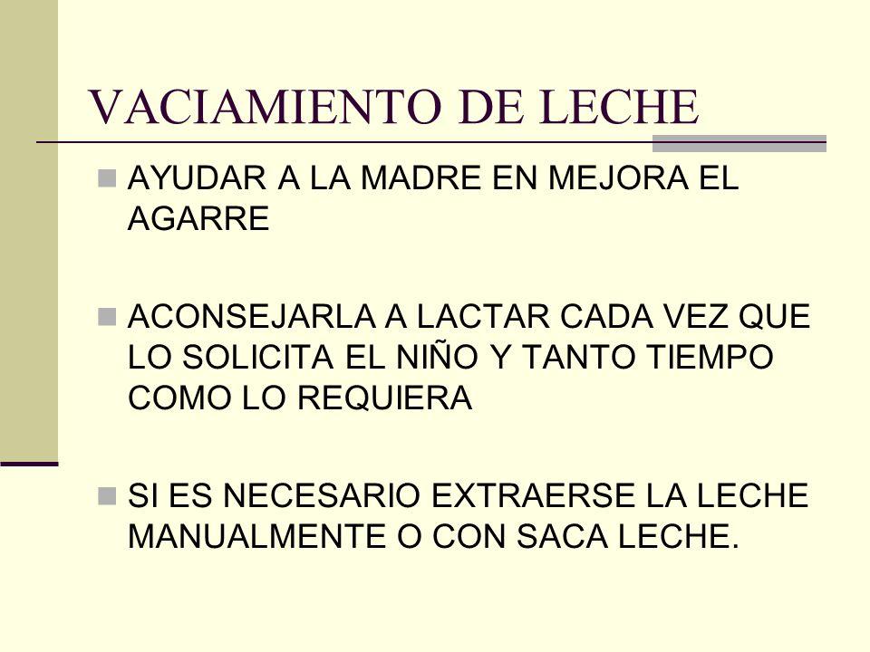 VACIAMIENTO DE LECHE AYUDAR A LA MADRE EN MEJORA EL AGARRE