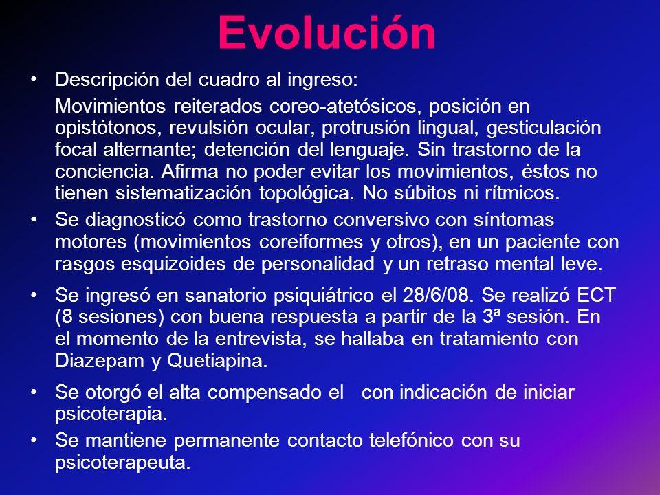 Evolución Descripción del cuadro al ingreso: