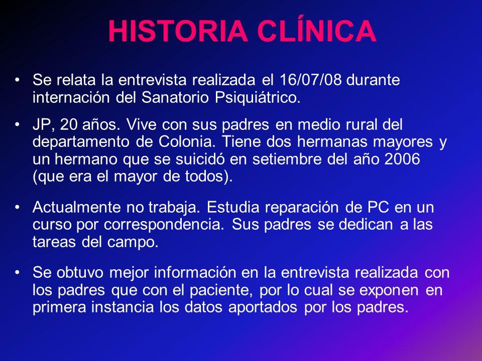 HISTORIA CLÍNICA Se relata la entrevista realizada el 16/07/08 durante internación del Sanatorio Psiquiátrico.