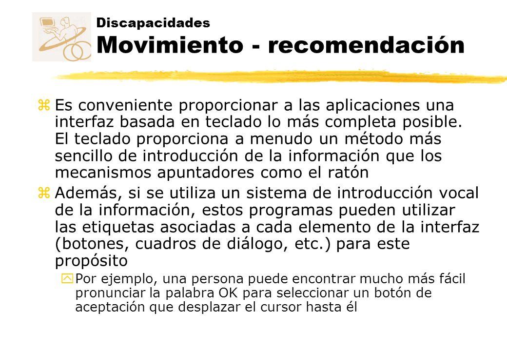 Discapacidades Movimiento - recomendación