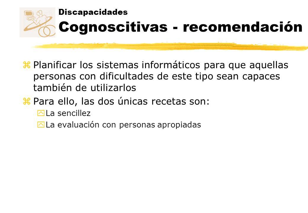 Discapacidades Cognoscitivas - recomendación