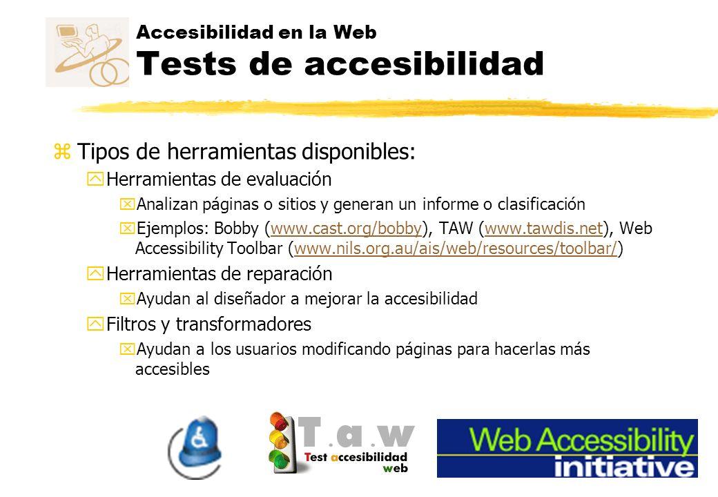 Accesibilidad en la Web Tests de accesibilidad