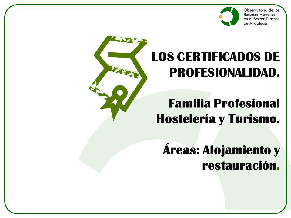 LOS CERTIFICADOS DE PROFESIONALIDAD. Familia Profesional Hostelería y Turismo.