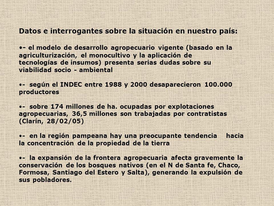 Datos e interrogantes sobre la situación en nuestro país:
