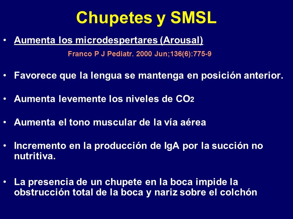 Chupetes y SMSL Aumenta los microdespertares (Arousal)