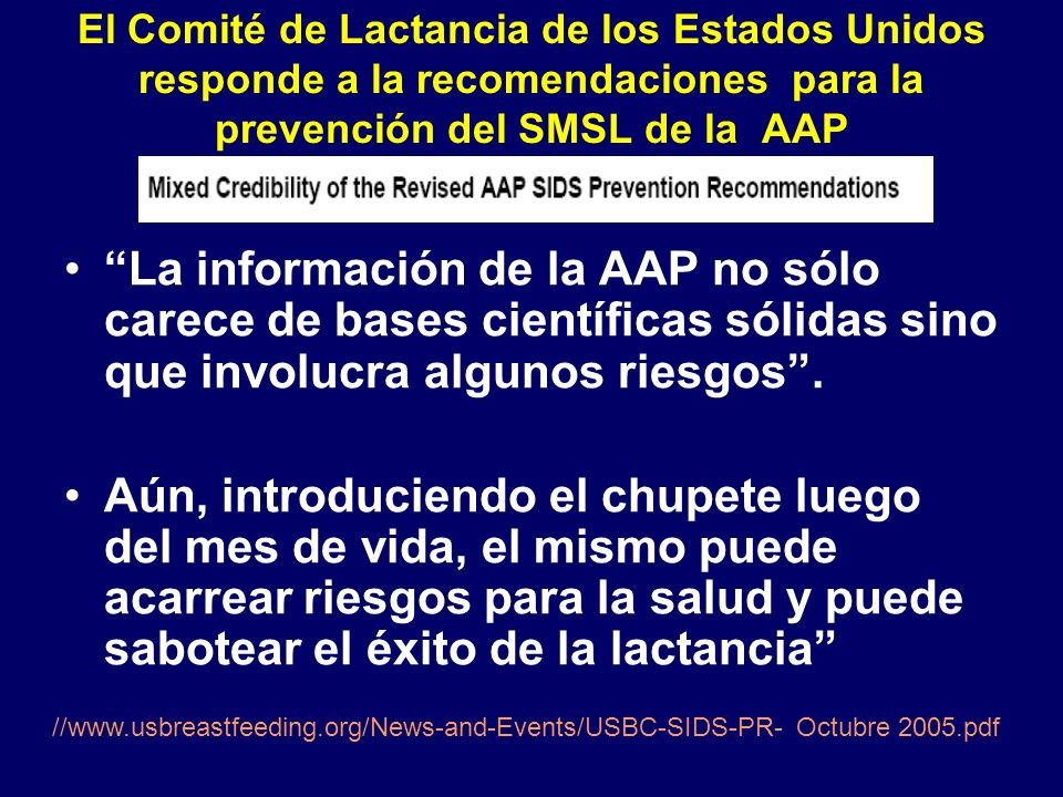 El Comité de Lactancia de los Estados Unidos responde a la recomendaciones para la prevención del SMSL de la AAP