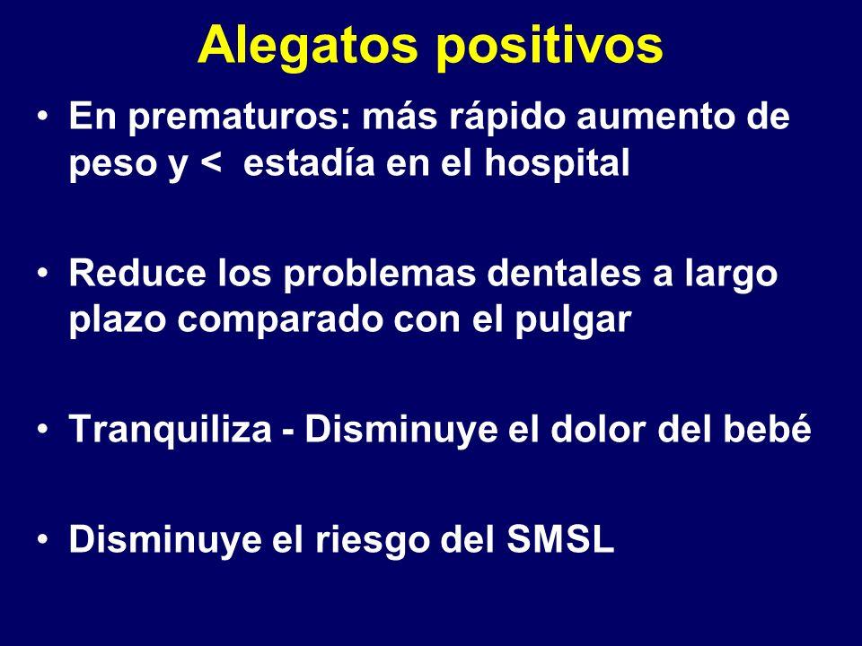 Alegatos positivos En prematuros: más rápido aumento de peso y < estadía en el hospital.
