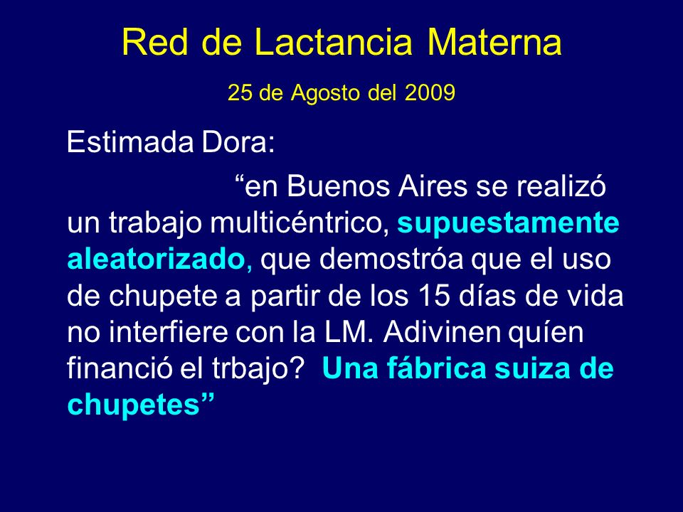 Red de Lactancia Materna 25 de Agosto del 2009