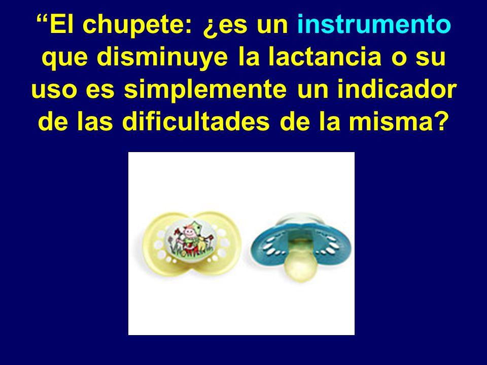 El chupete: ¿es un instrumento que disminuye la lactancia o su uso es simplemente un indicador de las dificultades de la misma