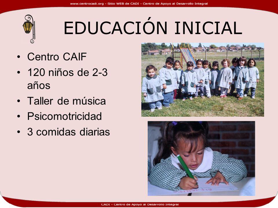 EDUCACIÓN INICIAL Centro CAIF 120 niños de 2-3 años Taller de música