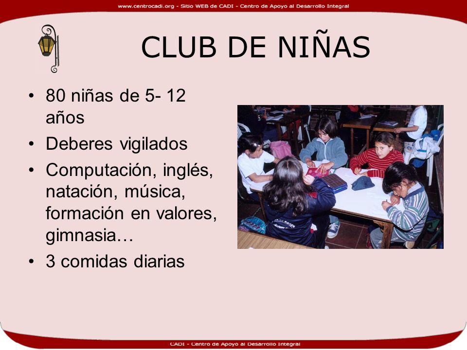 CLUB DE NIÑAS 80 niñas de 5- 12 años Deberes vigilados