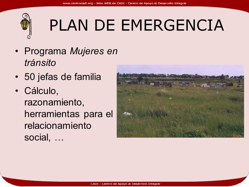 PLAN DE EMERGENCIA Programa Mujeres en tránsito 50 jefas de familia