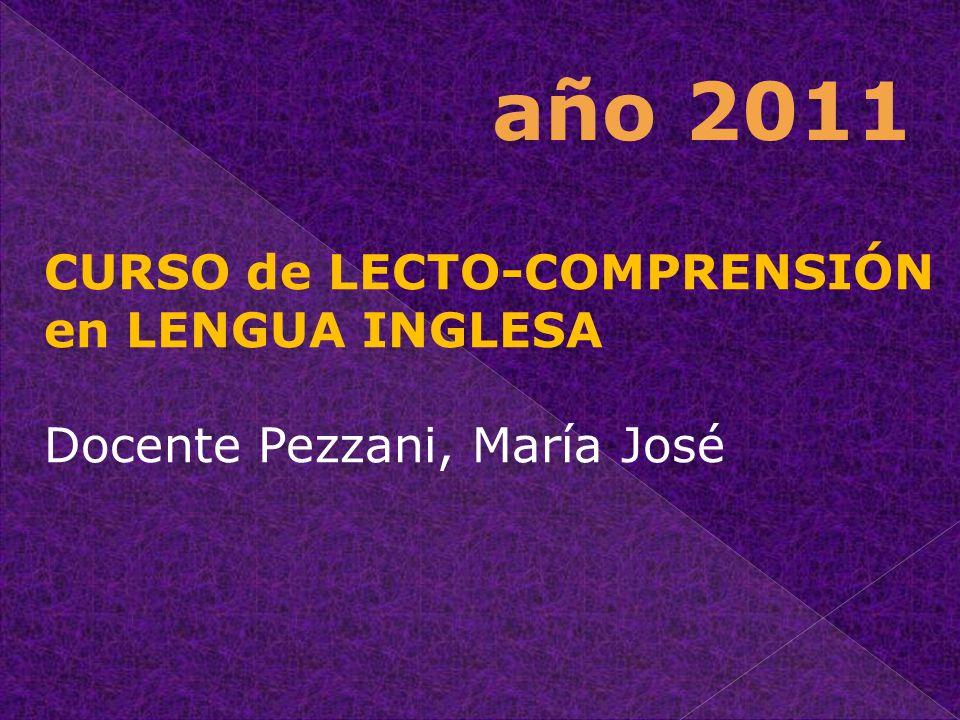 año 2011 CURSO de LECTO-COMPRENSIÓN en LENGUA INGLESA