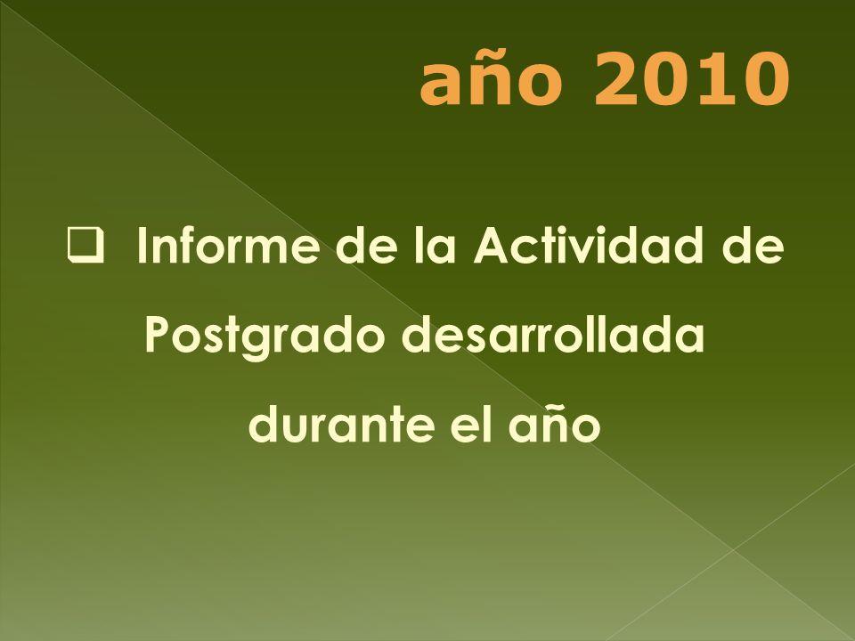 Informe de la Actividad de Postgrado desarrollada durante el año