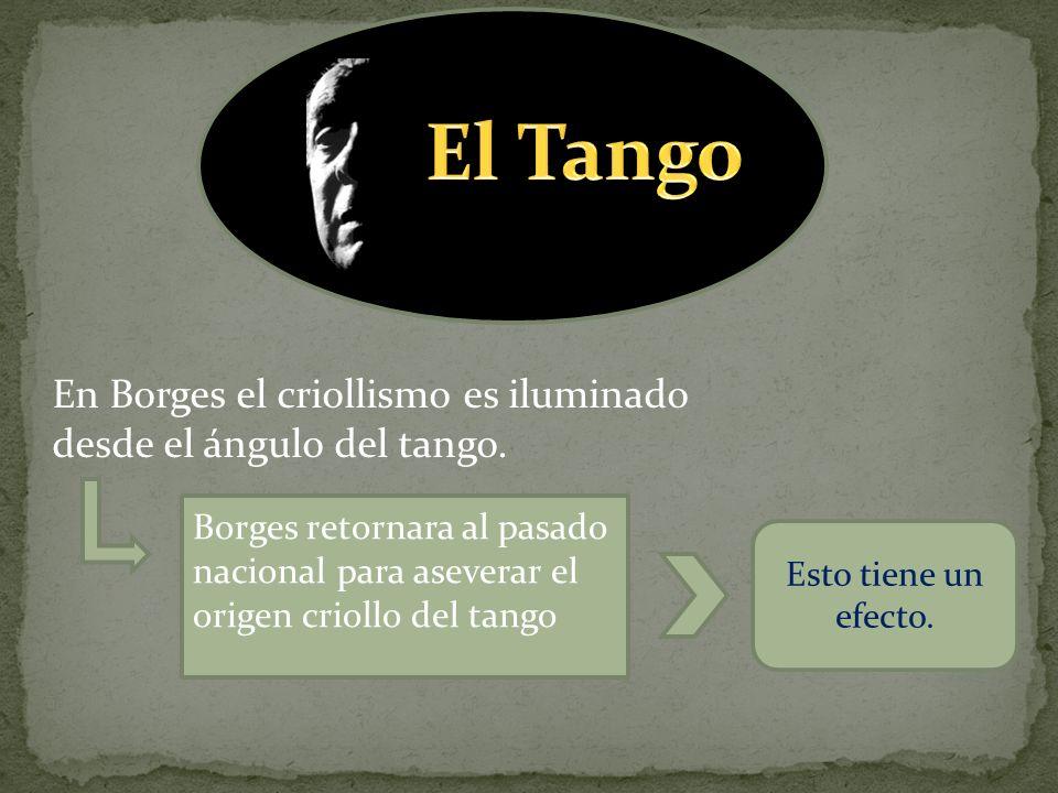 El Tango En Borges el criollismo es iluminado desde el ángulo del tango.