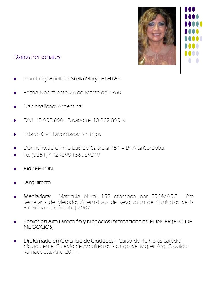 Datos Personales Nombre y Apellido: Stella Mary , FLEITAS