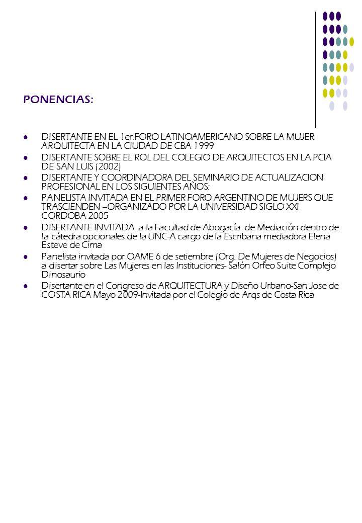 PONENCIAS: DISERTANTE EN EL 1er.FORO LATINOAMERICANO SOBRE LA MUJER ARQUITECTA EN LA CIUDAD DE CBA 1999.