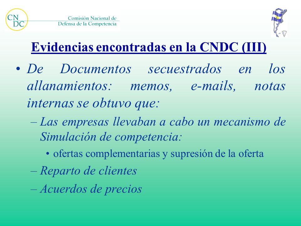 Evidencias encontradas en la CNDC (III)