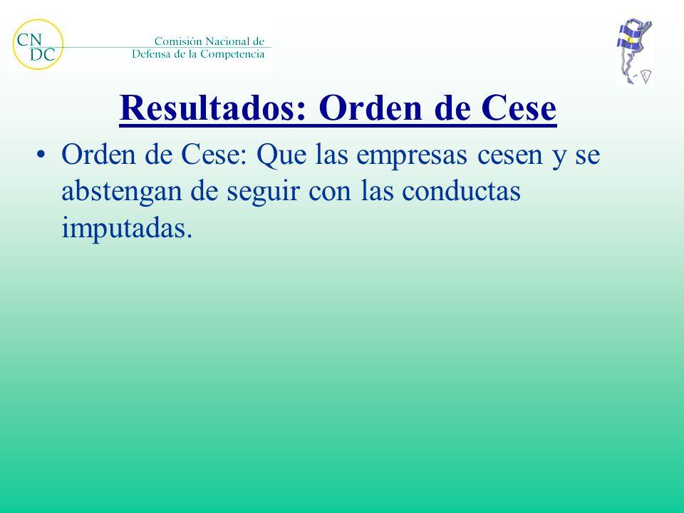 Resultados: Orden de Cese