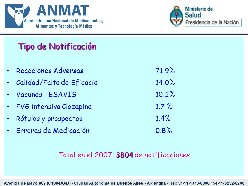 Total en el 2007: 3804 de notificaciones
