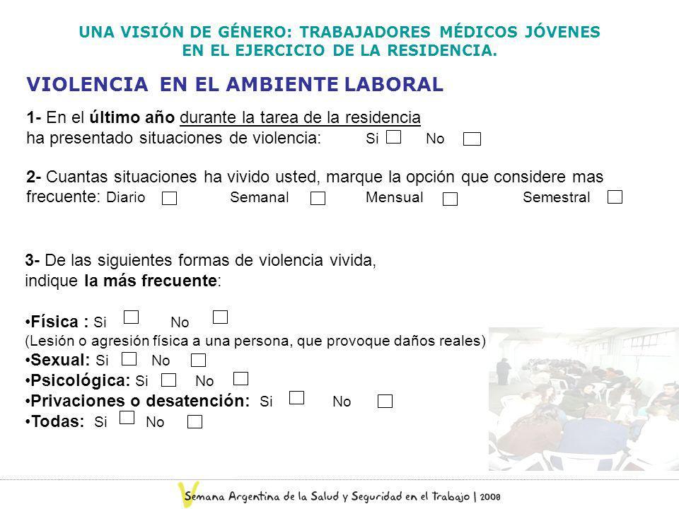 VIOLENCIA EN EL AMBIENTE LABORAL