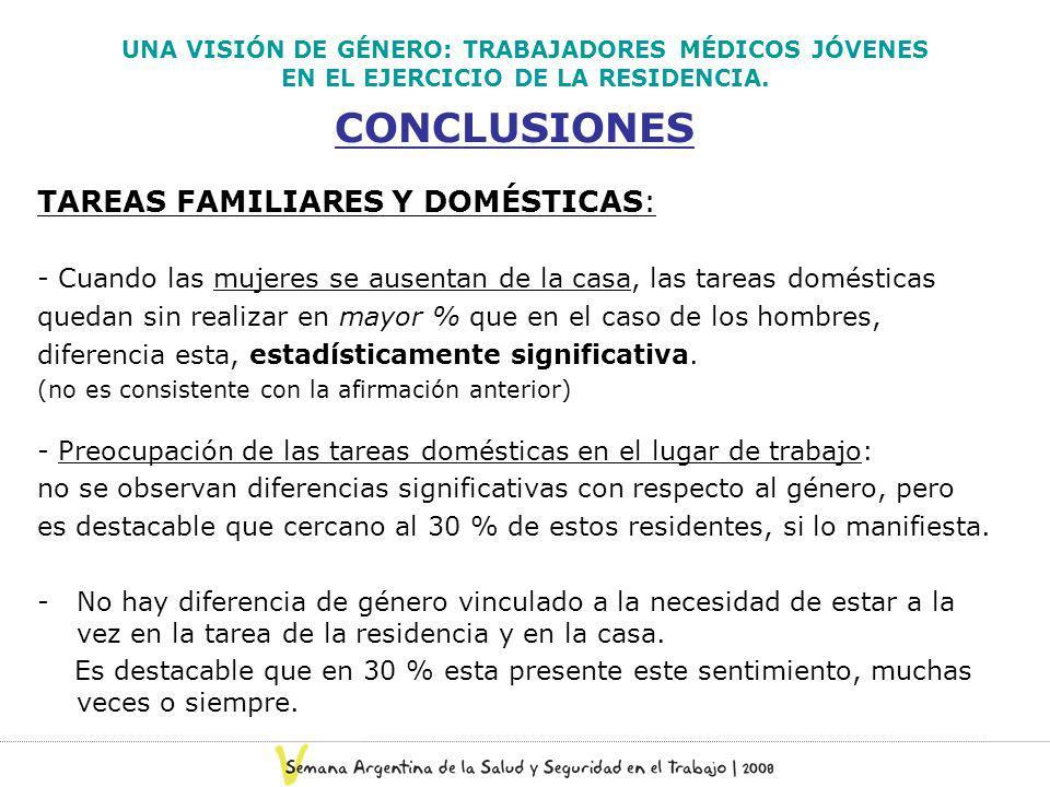 CONCLUSIONES TAREAS FAMILIARES Y DOMÉSTICAS: