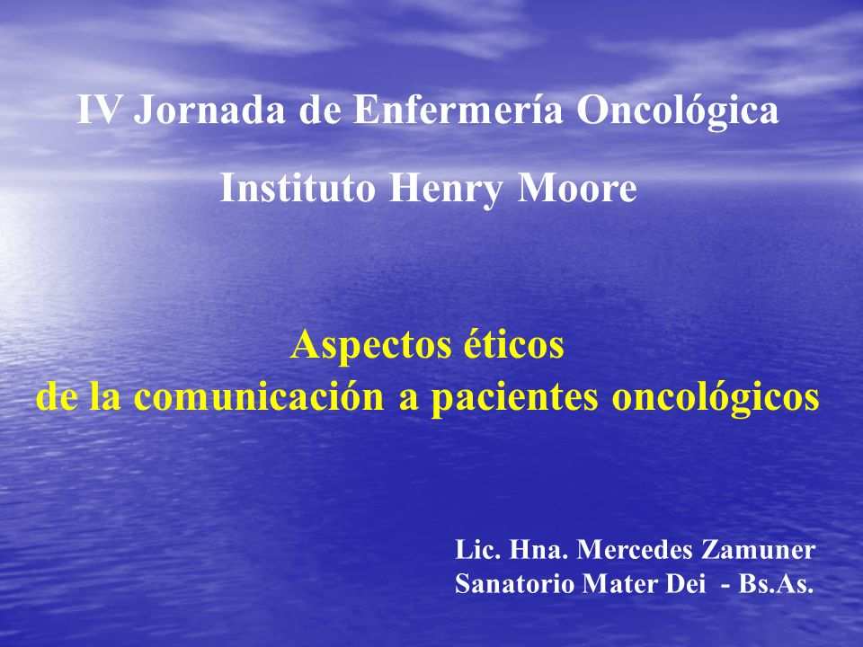 IV Jornada de Enfermería Oncológica Instituto Henry Moore