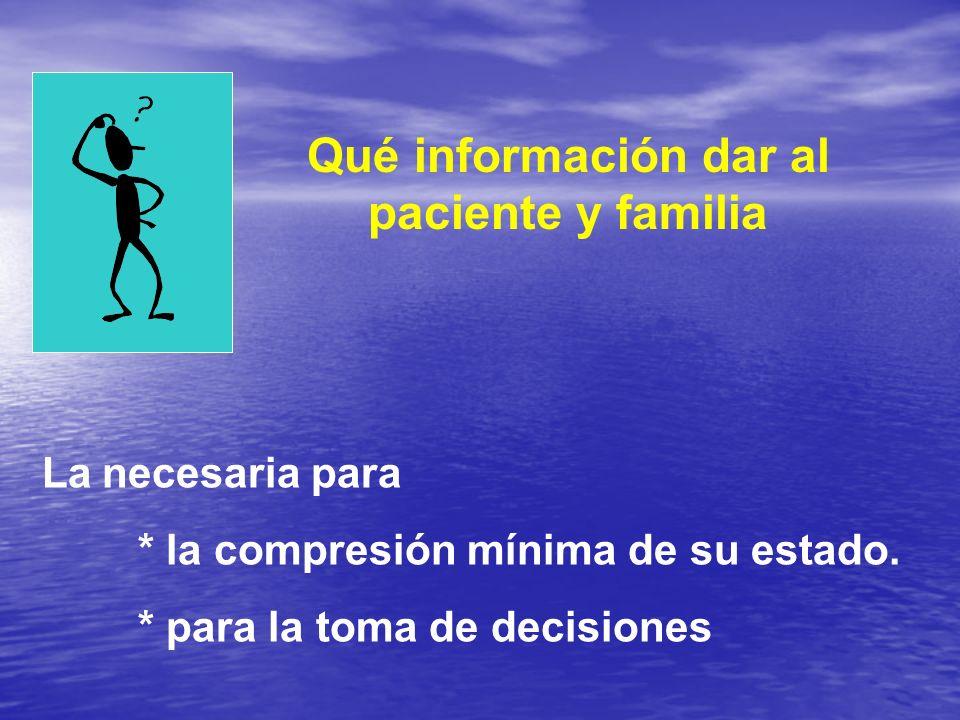 Qué información dar al paciente y familia
