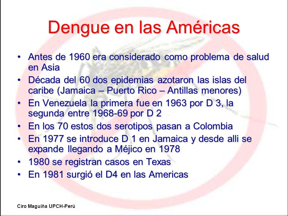 Dengue en las Américas Antes de 1960 era considerado como problema de salud en Asia.