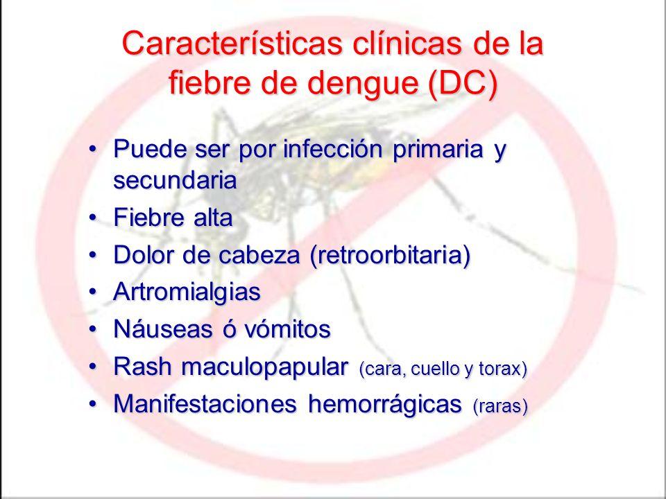 Características clínicas de la fiebre de dengue (DC)