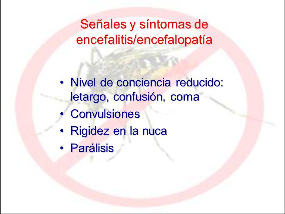 Señales y síntomas de encefalitis/encefalopatía