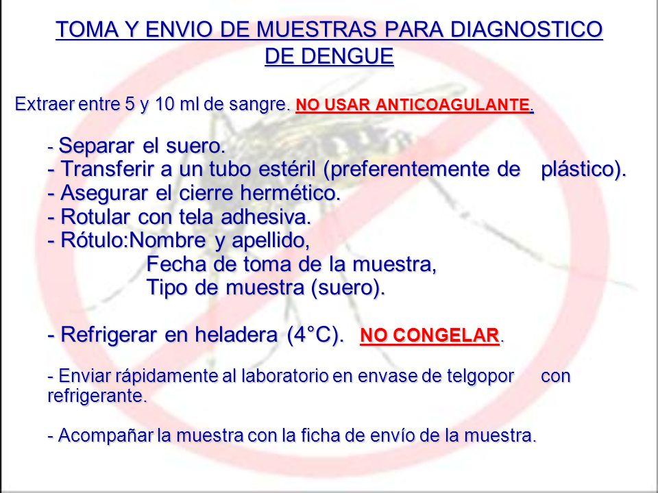 TOMA Y ENVIO DE MUESTRAS PARA DIAGNOSTICO DE DENGUE