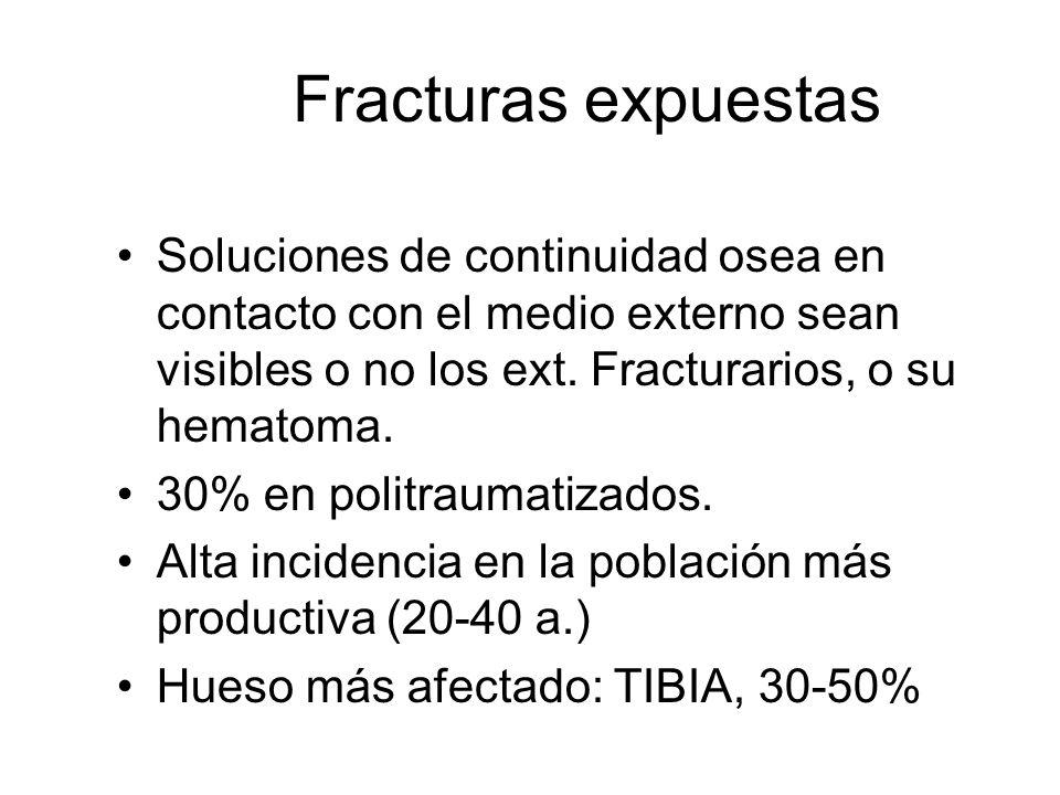 Fracturas expuestas Soluciones de continuidad osea en contacto con el medio externo sean visibles o no los ext. Fracturarios, o su hematoma.