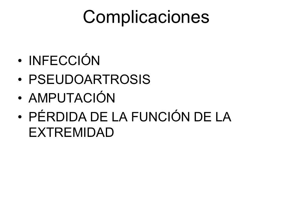 Complicaciones INFECCIÓN PSEUDOARTROSIS AMPUTACIÓN