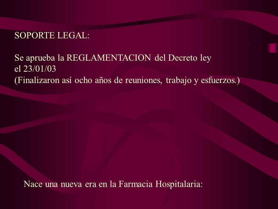 SOPORTE LEGAL: Se aprueba la REGLAMENTACION del Decreto ley. el 23/01/03. (Finalizaron así ocho años de reuniones, trabajo y esfuerzos.)