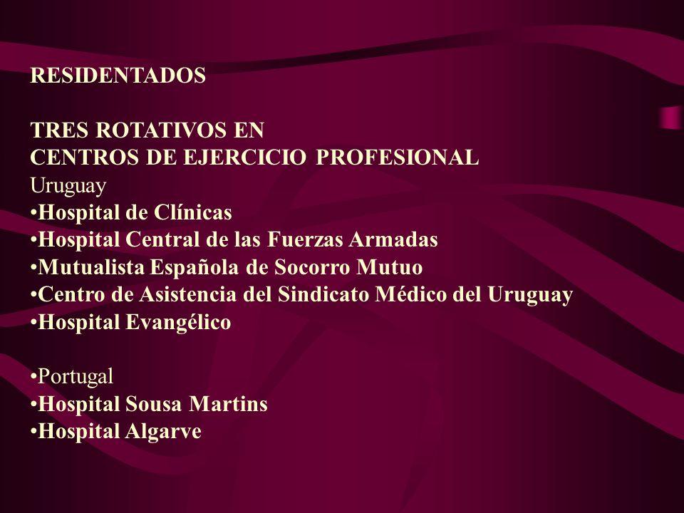 RESIDENTADOS TRES ROTATIVOS EN. CENTROS DE EJERCICIO PROFESIONAL. Uruguay. Hospital de Clínicas.