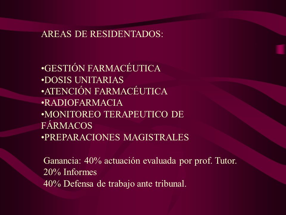 AREAS DE RESIDENTADOS: